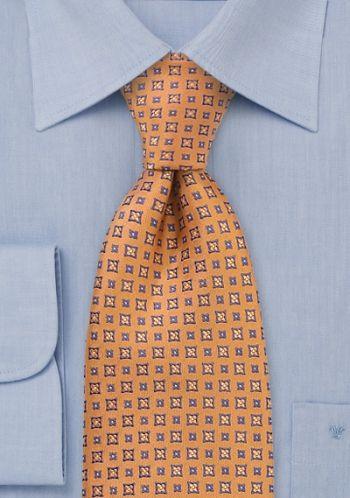 Cravate homme orange fantaisie