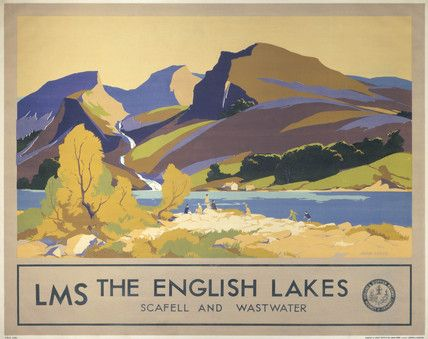 The English Lakes, Scafell and Wastwater, Lake District Travel Railway Poster Print by LMS