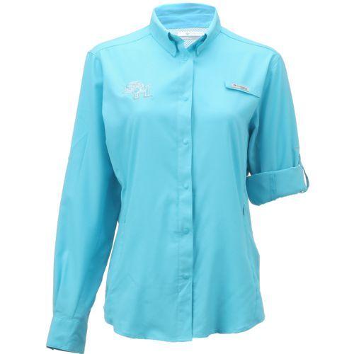 Columbia Sportswear Women's Sam Houston State University Long Sleeve Tamiami PFG Shirt (Aqua Or Turquoise, Size