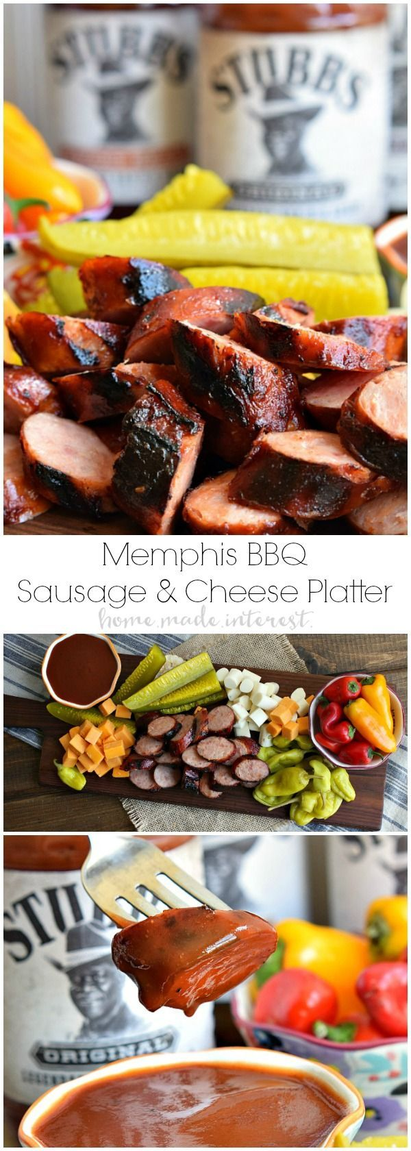 If you love Memphis barbeque then you are going to love this Memphis BBQ Sausage Platter. It is a traditional BBQ appetizer with BBQ grilled sausage, cheese, peppers and pickles. This is a great summer BBQ recipe that is perfect to take to a party or a co
