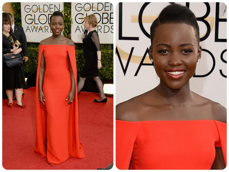 Lupita Nyong'o at the 2014 Golden Globes wearing a red cape Ralph Lauren gown.