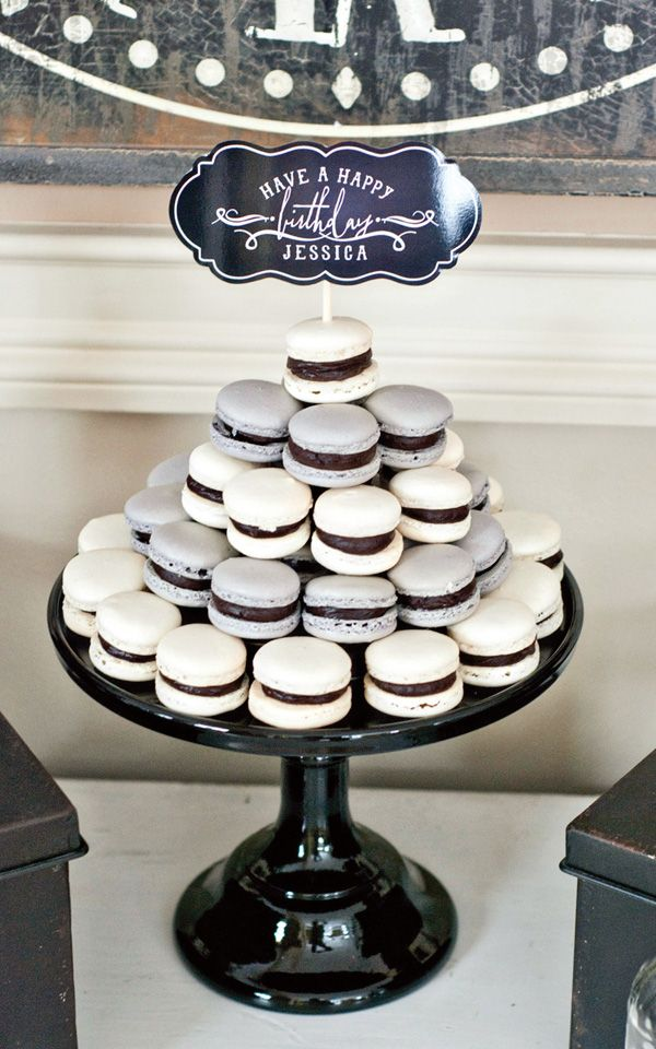 silver & black macaroon tower - alternate colors - great alternative to a cake!
