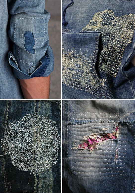 Beautiful examples of Sashiko (Japanese quilting)-inspired mending and Boro, the traditional Japanese practice of mending indigo-dyed cloth again and again.