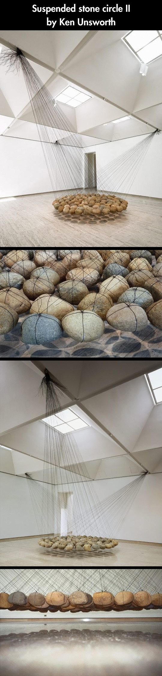 """One of my favourite pieces. """"Suspended stone circle II"""", by Ken Unsworth. 130 round river stones, each weighing around 20 kilos and suspended by tensed-up wires. I had the luck of seeing this piece at the Art Gallery of New South Wales."""