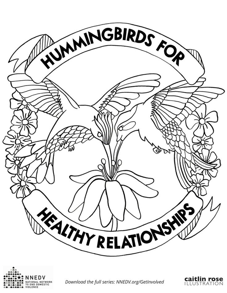 Hummingbirds for healthy relationships coloring page