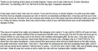 Woman Pens Epic eBay Ad for Lingerie She Got From a Married Man