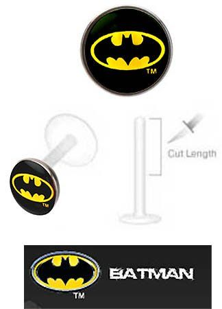 Batman Bat man bat signal Official Licensed DC Comics Flex Flexible Bioplastic Labret Monroe lip tragus piercing bar Ring 16g playful piercings,http://www.amazon.com/dp/B00AW2IHJC/ref=cm_sw_r_pi_dp_TRKfsb1HYXQV2W8X