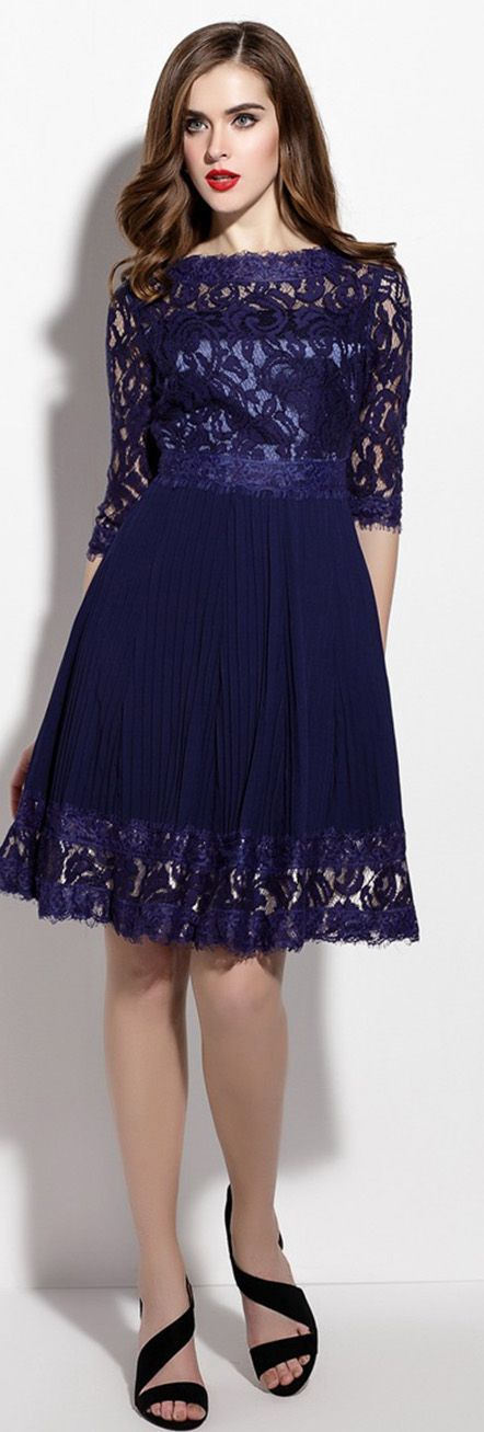 Navy Blue Hollow Lace Pleated Dress
