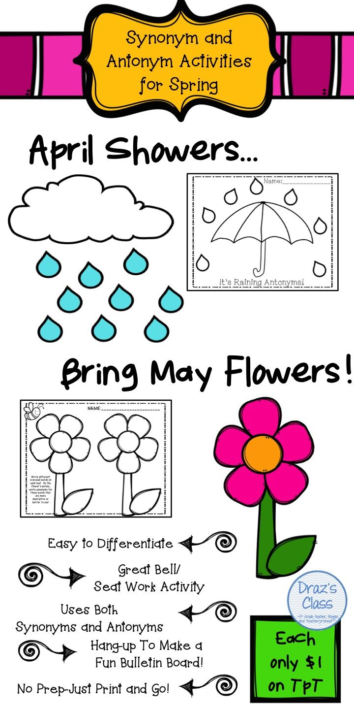 Worksheet Afraid Antonyms 17 best ideas about synonyms and antonyms on pinterest education spring language practice for upper elementary students grades 4 6 practice