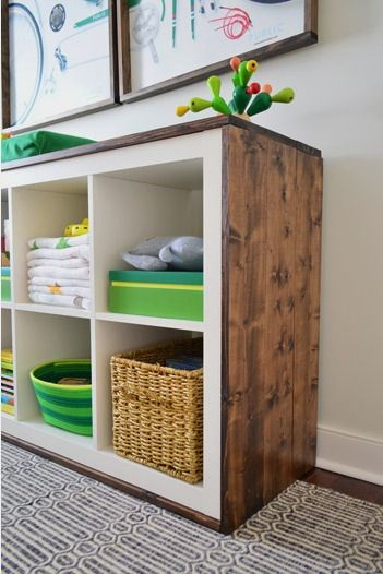 An Easy Ikea Hack  Bookcase To Wood Wrapped Changing Table. Best 25  Cube storage ideas on Pinterest   Living room storage