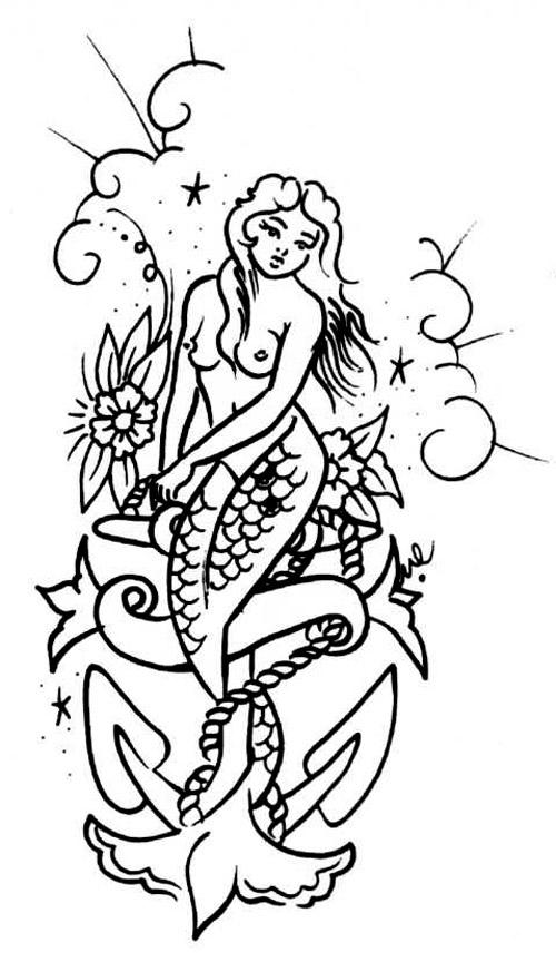vintage mermaid anchor flower tattoo flash