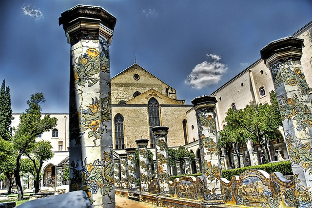 Majolica Columns of Santa Chiara - Naples: Photos, Naples, Built In, Majolica Columns, Regions Italy, Ceramich Italian, Queen Sancha, Santa Chiara