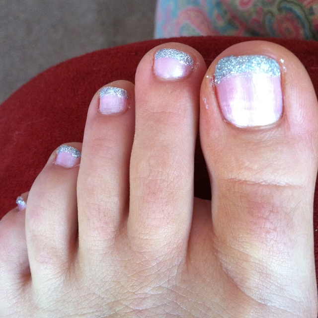 Pink french toe with silver glitter stripe  Nail Color - Pink Diamond by Essie