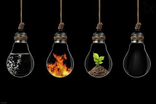 Fire Light Bulb: Water, fire, earth, air! #elements | Light Bulb Art | Pinterest | Light bulb  art, Fired earth and Water,Lighting