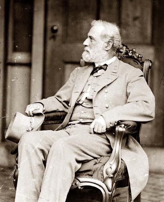 This photograph shows General Robert E. Lee. The picture was taken by Mathew Brady, shortly after Lee's surrender to Grant at Appomattox Courthouse. Lee is wearing his confederate uniform. At the time the photograph was taken, it was unclear what punishment might be given to Lee for his pivotal role in the Civil War.