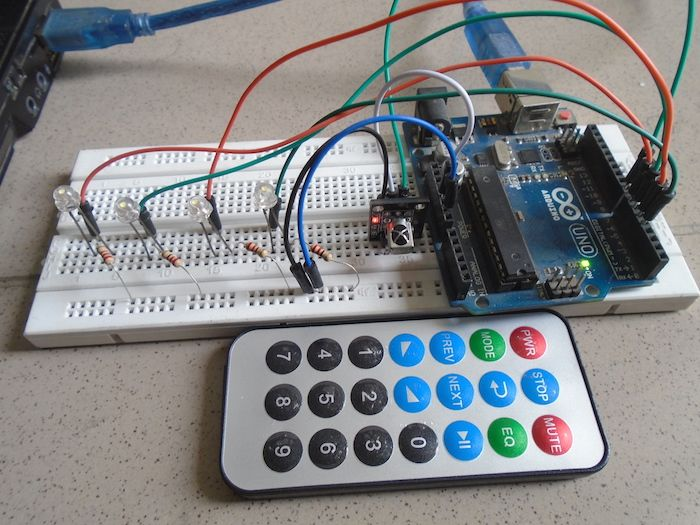 Learn how to map remote buttons to an Arduino with an IR sensor and LEDS.