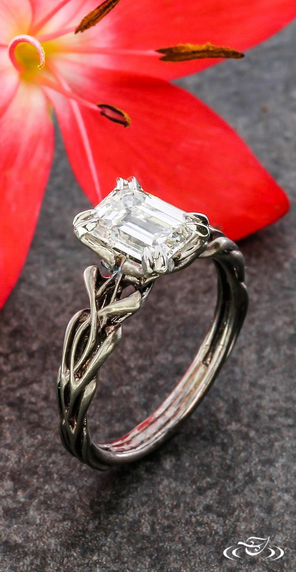 Ink Metal Art Nouveau Engagement Ring #GreenLakeJewelry