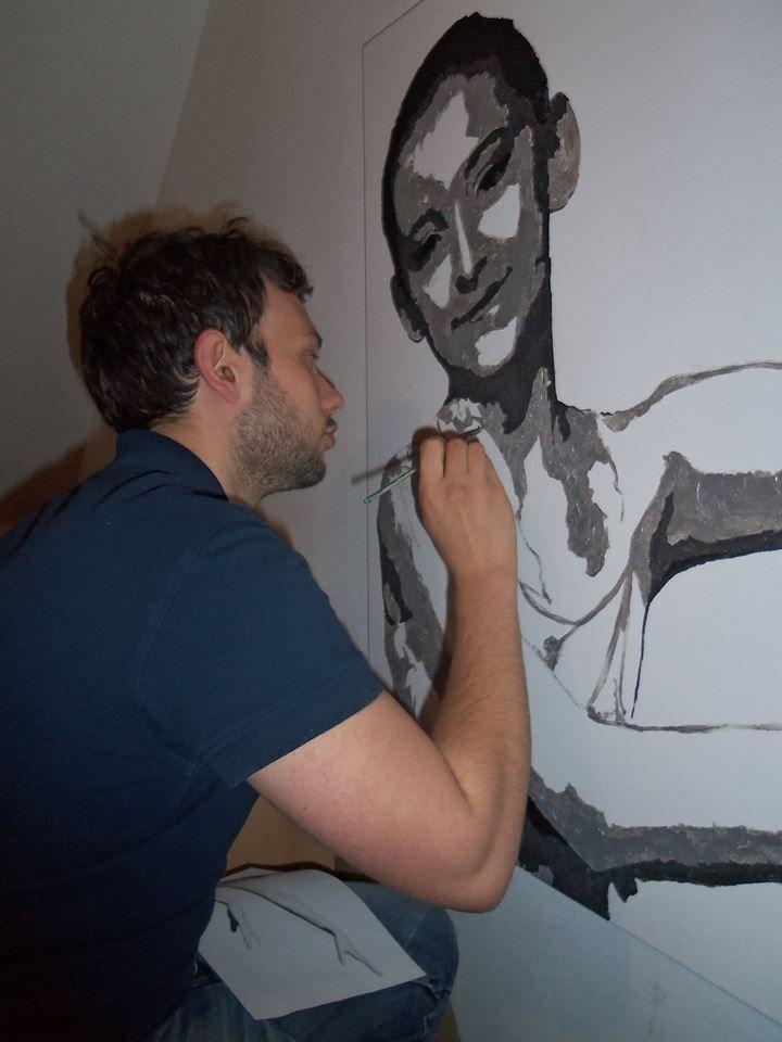 """""""portrait de Romane"""" 110X70cm - 2014 -Acrylique sur toile - David Mostacci"""