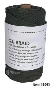 300' 7-STRAND 550 PARACORD   7 Strand 550 lb. Cord  Made In The USA  Multi-Purpose: Camping, Fishing, Survival, Gardens, Boating, Crabbing & Much More!  Quick Drying  Will Not Rot Or Mildew  Type III Commercial  Strong And Durable  Manufactured By A Government Contractor  300' Strand