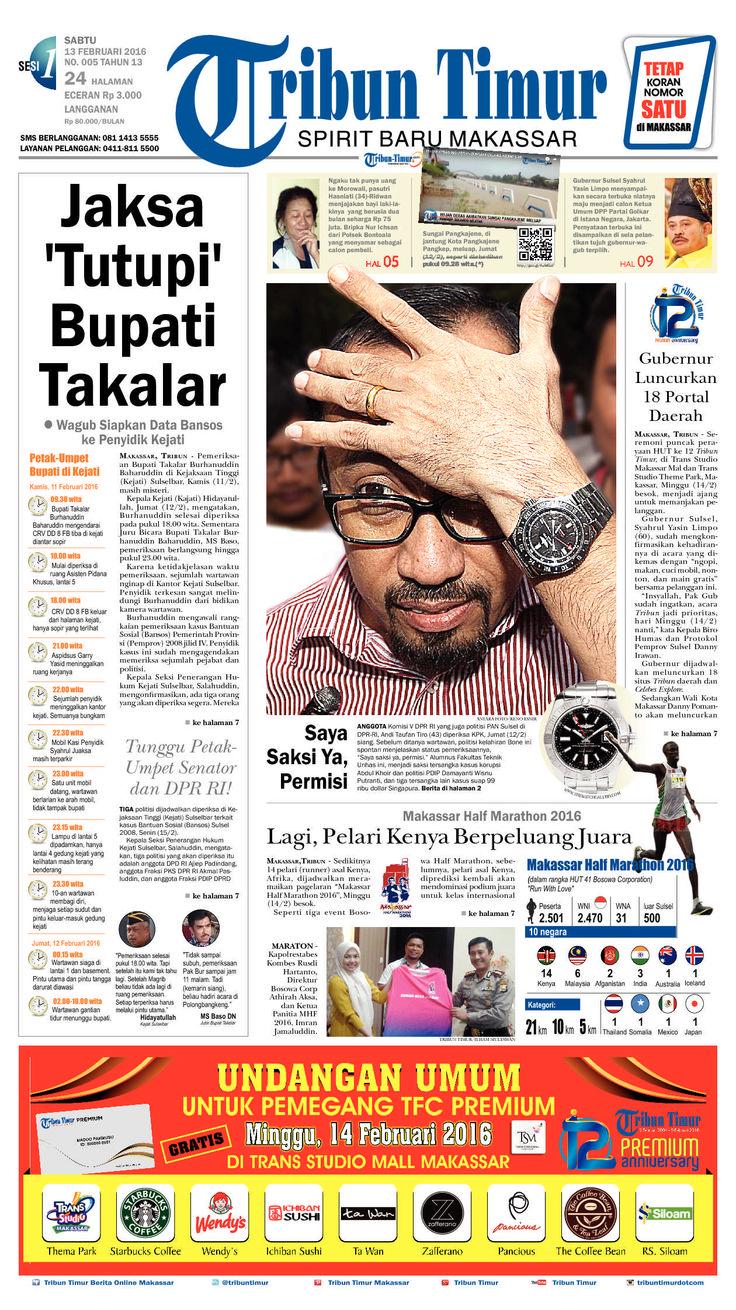 Tribun Timur edisi Sabtu, 13 Februari 2016