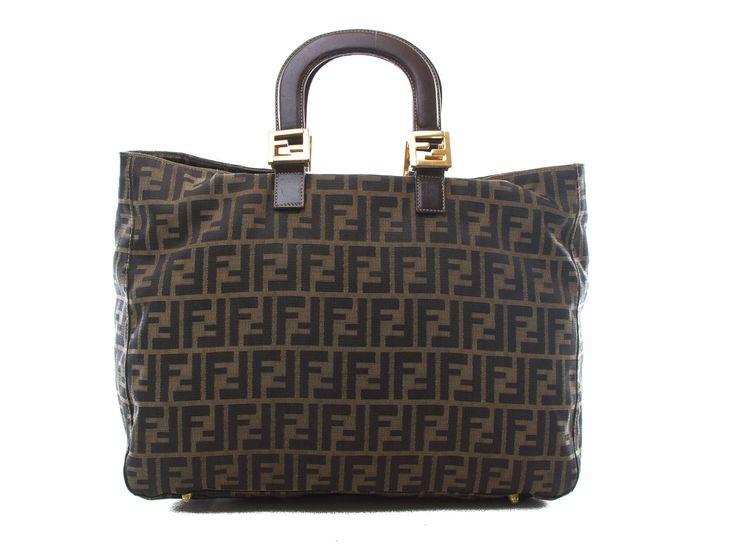 Authentic Vintage Fendi Zucca FF logos nylon & brown leather handbag