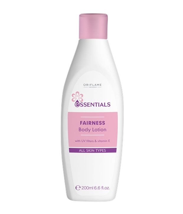 Oriflame Essentials Fairness Body Lotion --- Product Description SKU SD-30810 Material AQUA, ISOPROPYL MYRISTATE, PARAFFINUM LIQUIDUM, STEARIC ACID, GLYCERIN, GLYCERYL STEARATE, ETHYLHEXY Time To Dispatch 2-3 Working Days Warranty 100% original work , directly sourced from the maker. Season All Seasons Occasion Best for using it to keep skin gentle and soft Manufactured in Sweden