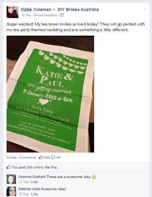 """The bright ' #SavetheDate ' style #weddingteatowel from the Katie Coleman wedding wouldn't be lost amongst the mail! """"I got the #teatowels today, they are wonderful! Thanks so much for your help! I've posted a picture of them in a #wedding forum and heaps of people are enquiring about them, so I sent them in the direction of your website with a glowing review. Thanks again! I can't wait to send these out now!"""" Click the link in our bio/below and request your FREE info pack with #teatowel…"""