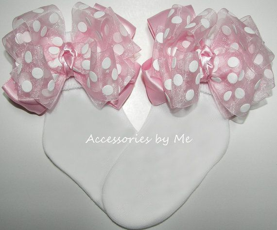 Girls Socks / Pink Bow Sock / Polka Dot Socks / by accessoriesbyme