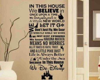 In This House We Do Disney Disney Sign Disney Wall Decals  Wall Decal Part 86