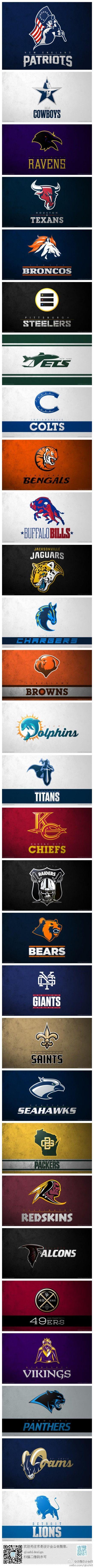 NFL logo 的重新设计。by: Max O'Brien