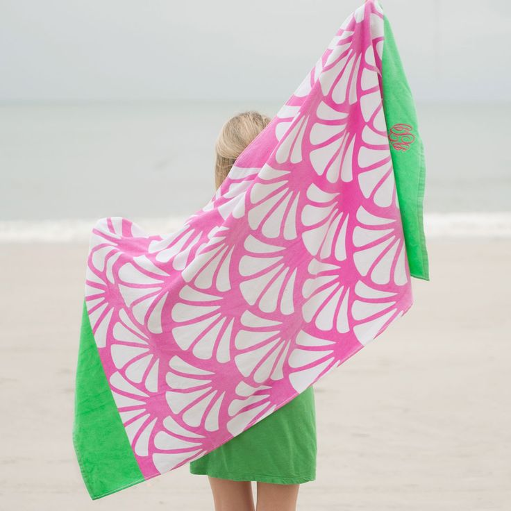 Shelly Monogrammed Beach Towel