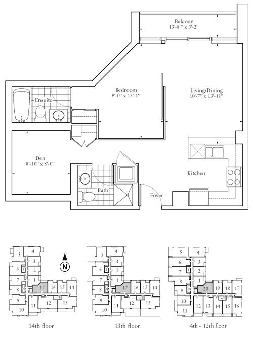 Floorplan - One Bedroom + Den