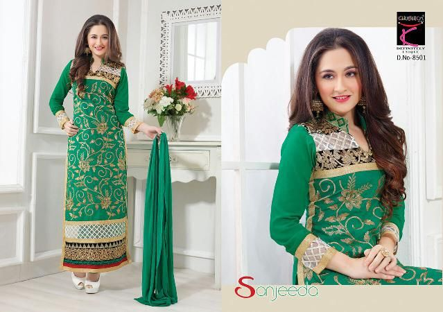 Sanjeeda Cotton Pakistani Style Suit with Chiffon Dupatta and Embroidery Work buy online at Maysha Fashion (Catalog - Sanjeeda-pakistani-suit)