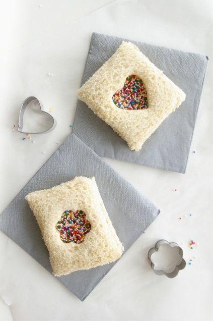 """Fairy Bread Sandwiches from """"Sugar & Cloth"""". cute snack idea , treat"""