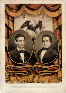 Grand National Banner Poster for Republican Party Ticket of Abraham Lincoln and Hannibal Hamlin, 1860.