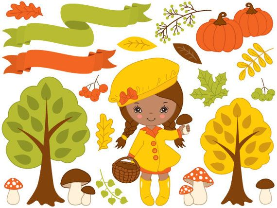 More African American #Clipart can be found here: http://etsy.me/2obHLML  ITEM: Autumn Clipart - #Digital #Vector, African American Girl, Fall, Leaf, Pumpkin, Amanita, Mushroo... #thecreativemill #clipart #digital #vector