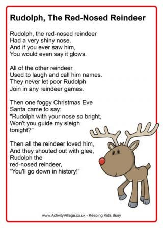 Free download from Activity Village. Rudolph the red nosed reindeer poster.