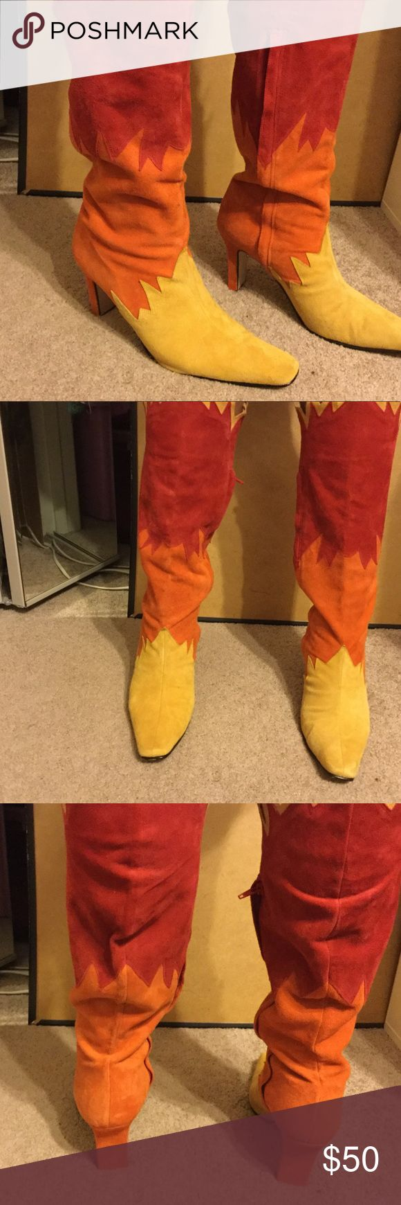 Woman's boots Multi coloured(red,yellow and orange) new boots never worn.  Size 11m. Made in china. Shoes Heeled Boots