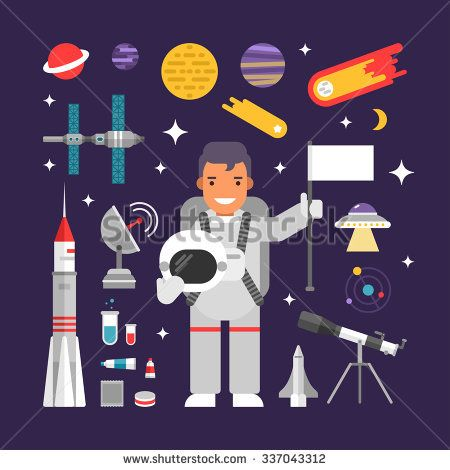 Set of Vector Icons and Illustrations in Flat Design Style. Male Cartoon Character Astronaut Surrounded by Planets, Rockets and Stars