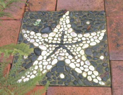 Bodenmosaik DIY für den Garten...  Sand-Mörtelgemisch 2:1