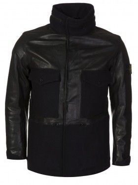 Stone Island Black Panno Waxed Leather Jacket
