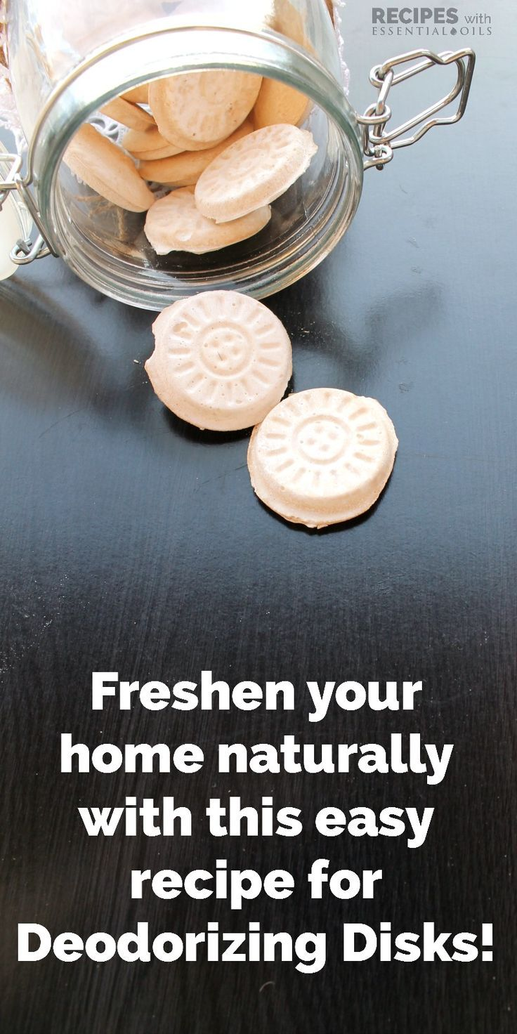 Easy DIY recipe for Deodorizing Disks that will freshen your home naturally from RecipeswithEssentialOils.com