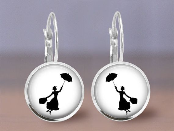 Mary Poppins Earrings 2  12mm Dangle or Post by MaDGreenCreations
