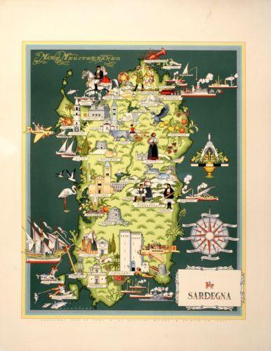 Original Vintage Poster Italian Map Sardegna Sardinia Travel 1939 | eBay