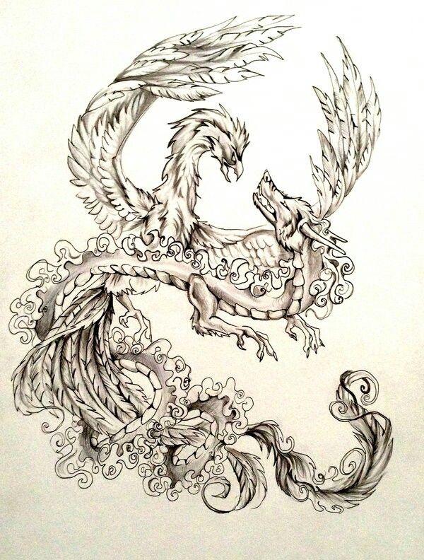 Dragon nd phoenix fighting yin nd yang