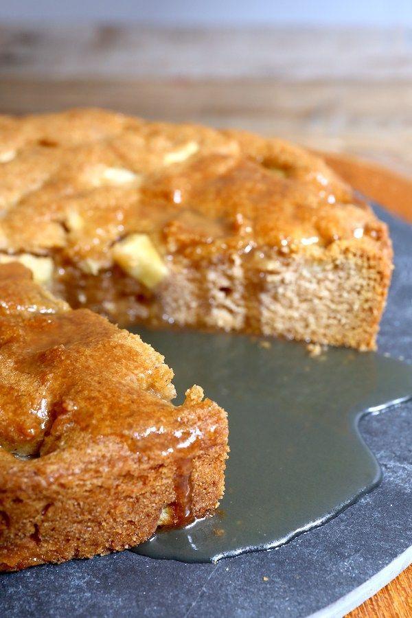Easy, spiced apple cake, with maple sauce. #vegan