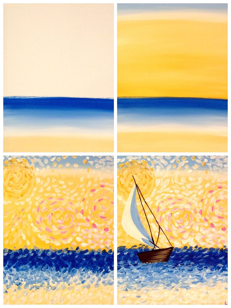 """Evolution of """"Van Gogh's A-Sailing"""" Painted @ Painting with a Twist Miami-Evolution created using iphone app Pic Jointer"""