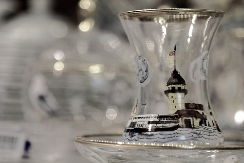 TheMaiden's Tower painted on a Turkish tea glass  Found in Kariye Museum