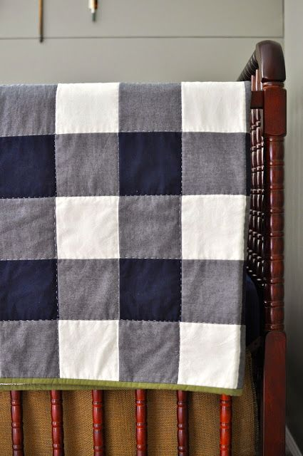 Outdoorsy nursery.  Gingham Quilt gender specific once baby comes