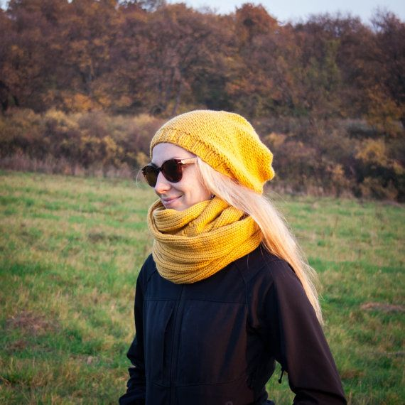 Yellow Mustrad Women Hand Knitted 2 Set / Yellow Slouchy